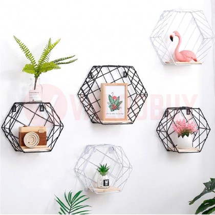 2in1 Multifunctional Iron Hexagon Wall Rack Storage Decoration