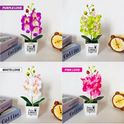Bunga Orkid Love Orchid 29cm With White Pot Artificial Plant Orkid Gubah