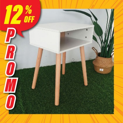 (PROMO) Side Table with Storage Compartment Wood Meja Organizer Simple