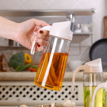Multipurpose Jug Auto 630ml Open Flip Cover Glass Jug for Oil Ingredient Glass Container Anti Slip Anti Leak